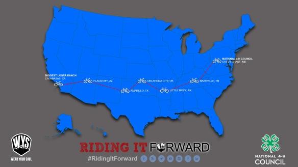 Joe's route across the US.